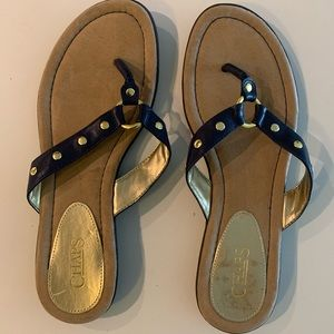 Navy blue and gold studded sandal